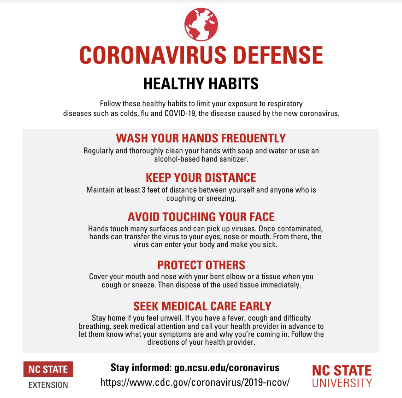 Coronavirus Defense Healthy Habits infographic