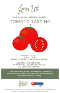 Cover photo for Tomato Tasting at Wilkes County Farmers Market, August 21, 2021